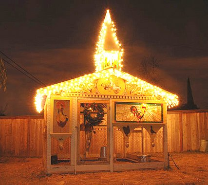 Fancy Coop with String Lights | Chicken Coops