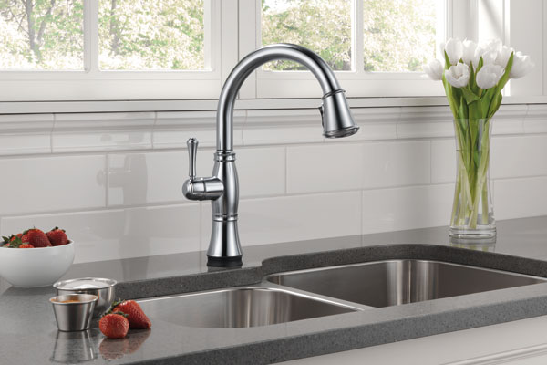 The Delta Cassidy is a touch-activated kitchen faucet