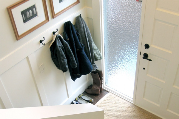 Wainscoting in a home's mudroom