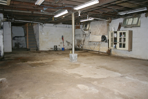 Basement before musty
