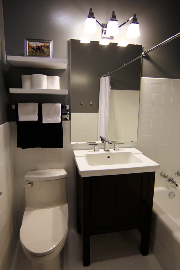 A Small Bathroom Makeover Before And After - Tiny bathroom makeover