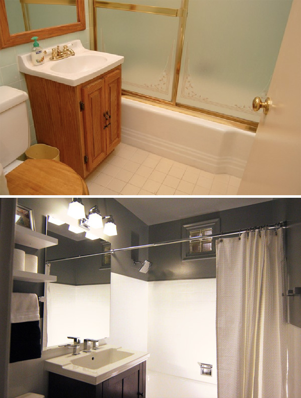 A small bathroom makeover before and after for Makeovers for small bathrooms