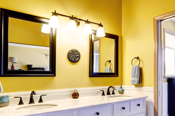 Bathroom with yellow paint
