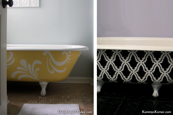 Home remodel bathtub - Painted clawfoot tub exterior pict ...