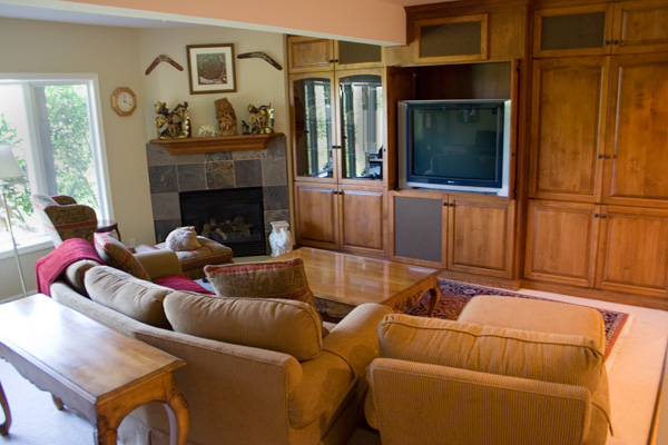 Couches and an entertainment center in a renovated basement