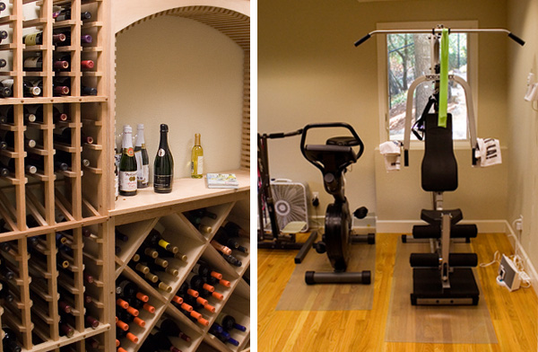 Wine cellar and home exercise room