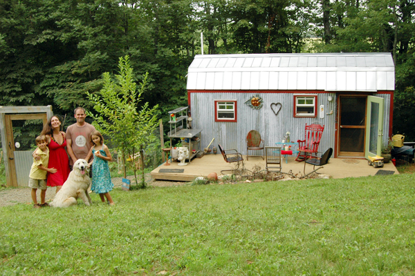 The Berzins Family Outside Their Tiny Home Creative Home Designs