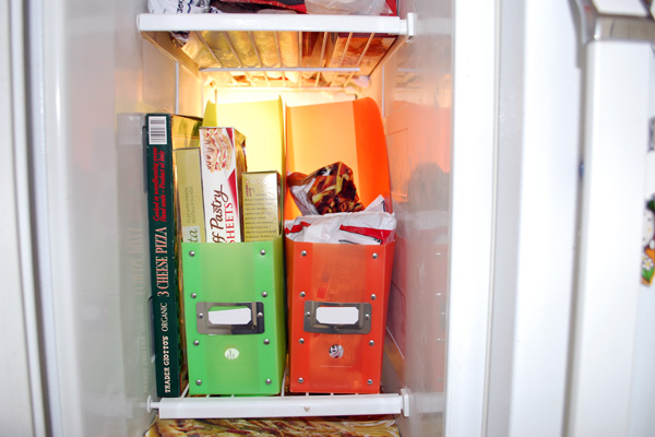 Magazine folders in a freezer keep things organized