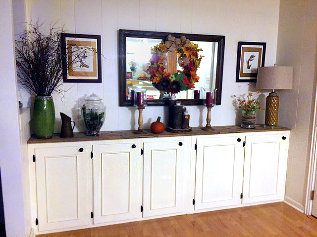 Dining Room Storage DIY Buffet Made Of Repurposed Kitchen Cabinets