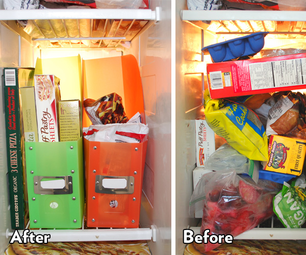 DIY freezer storage with plastic magazine organizers