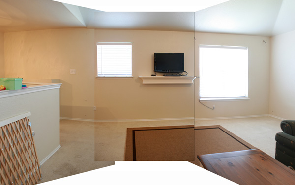 Panoramic image of the family room