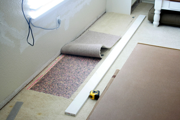 Strip of carpeting removed