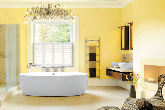 Green bathroom remodeling eco friendly bathroom for Bathroom yellow paint