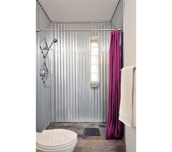 Galvanized metal used as a shower enclosure