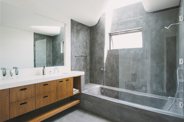 Plaster shower walls in a home