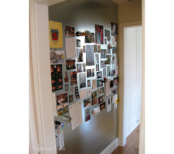 A DIY magnet wall in a family's hallway