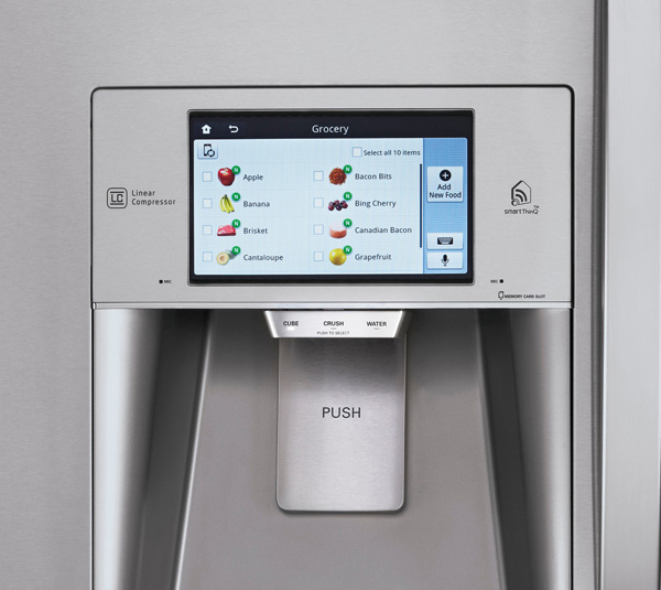 Touchscreen refrigerator inventory