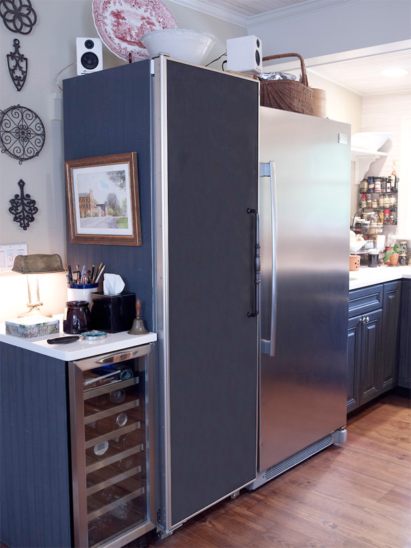 Chef Plummer's large refrigerator is great for storing soup stocks