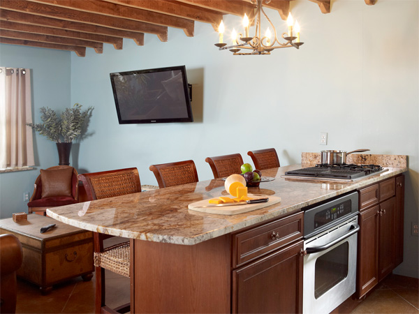 Chef Austin Johnson's kitchen with adjacent entertaining area
