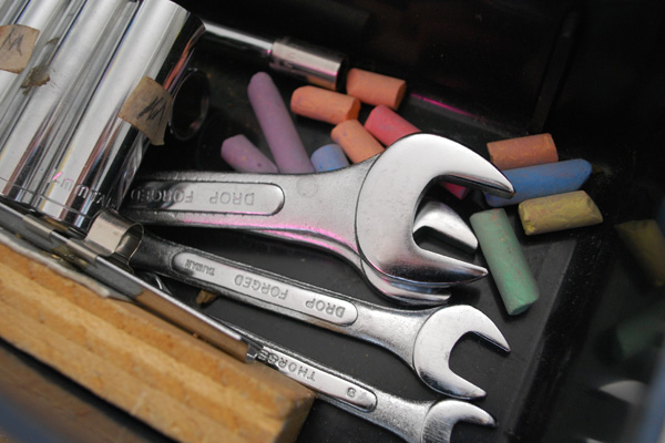 Chalk kept in a toolbox to keep metal tools from rusting