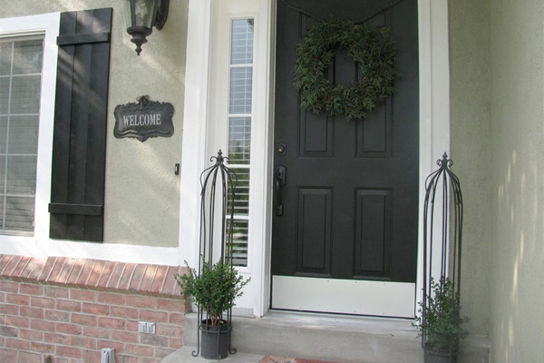 Steel exterior door painted black