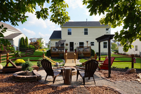 Lovely back yard relaxation area with Adirondack chairs