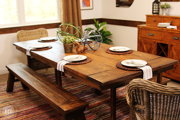 Home dining room with farmhouse table