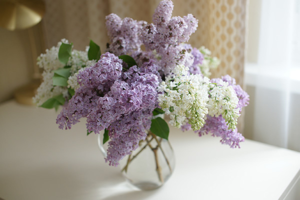 Fresh-cut lilacs in a home for sale