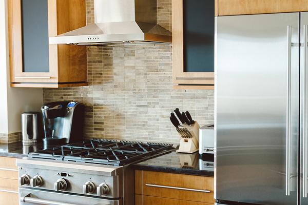 Range hood in a home kitchen