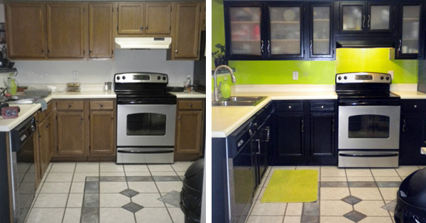 Before and after kitchen cabinets had glass inserts