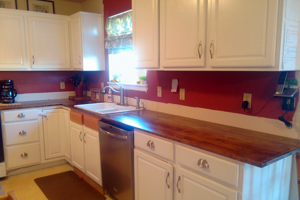 After countertop resurfaced with wood