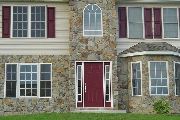 Stone veneer on the exterior of a home