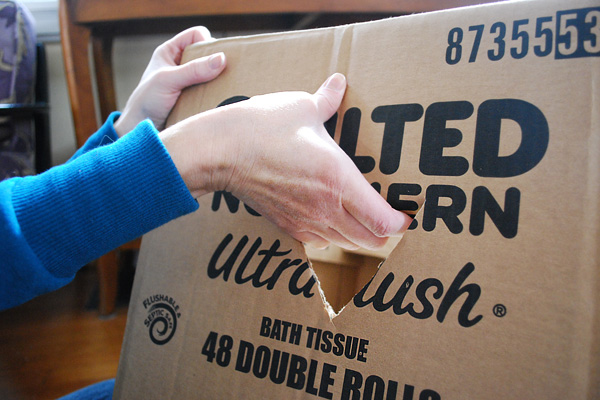 Handle cut into a box for moving