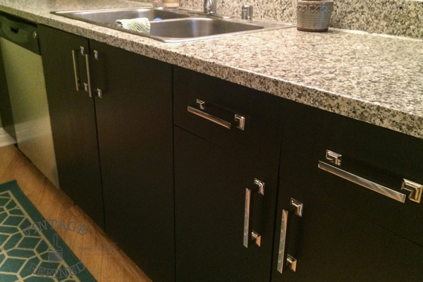 Kitchen cabinets painted with gel stain