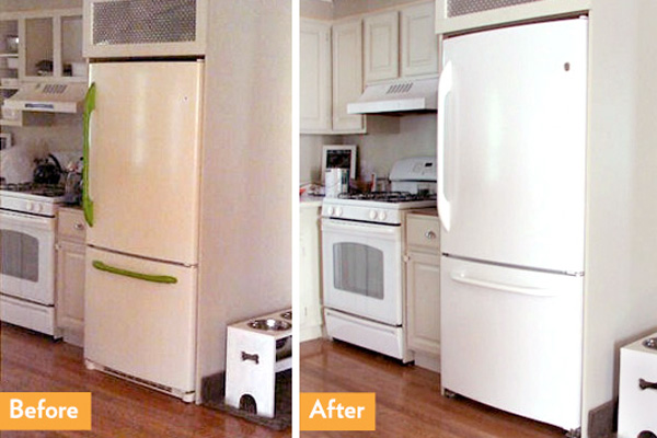 Before and after painting refrigerator with appliance paint