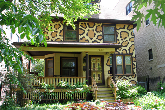 Home with leopard print exterior paint color scheme