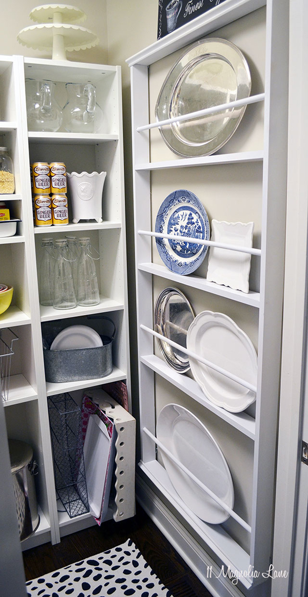 DIY plate rack for pantry organization