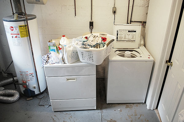 Washing machine in the basement of a house