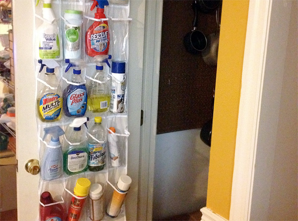 Shoe organizer used to store cleaning supplies