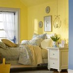 Attic bedroom in yellow and blue