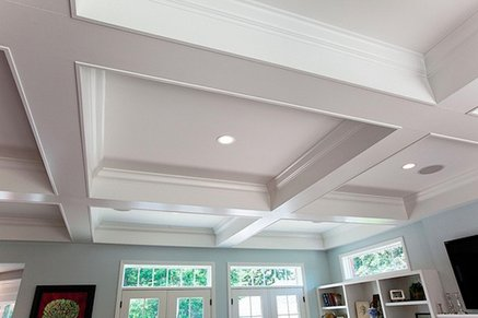 Box beam ceiling in basement