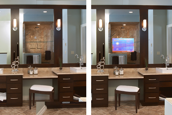 TV/Mirror installed in a bathroom