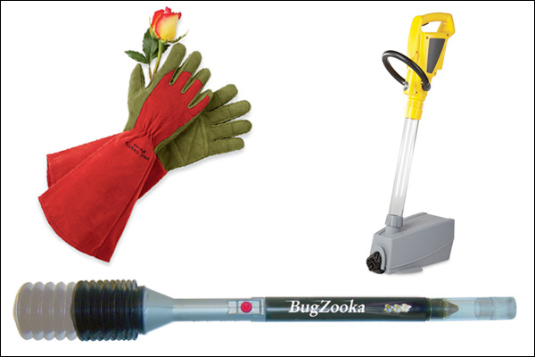 Bugzooka, gardening gloves and dog dung vacuum