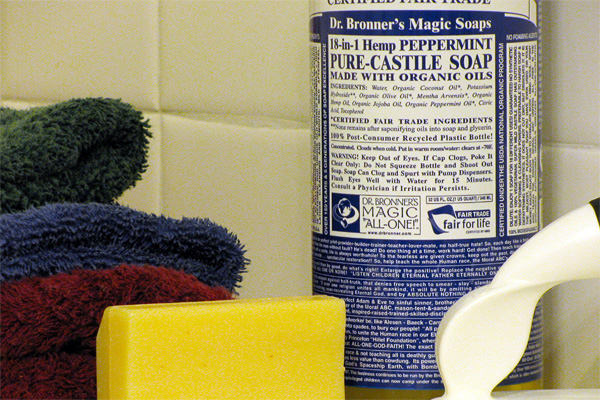 Dr. Bronner's castile soap in a bathroom