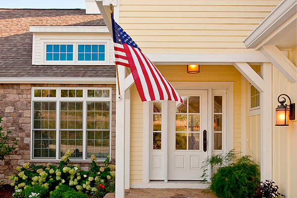Porch lights with American flag