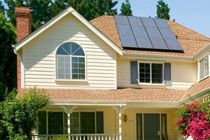 Home for sale with solar panels on roof