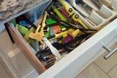 Child safety lock on kitchen drawer