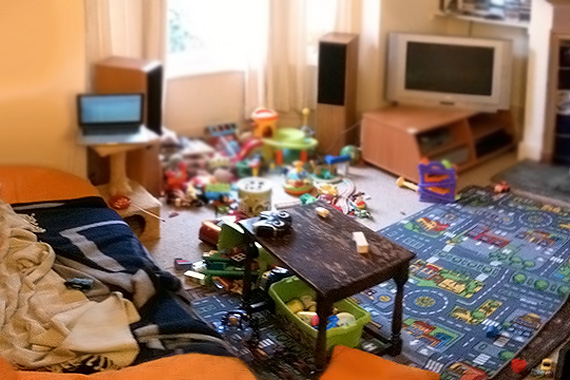 Clutter from toys in a home living room