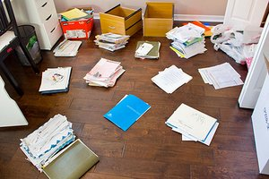 Tax papers on the floor
