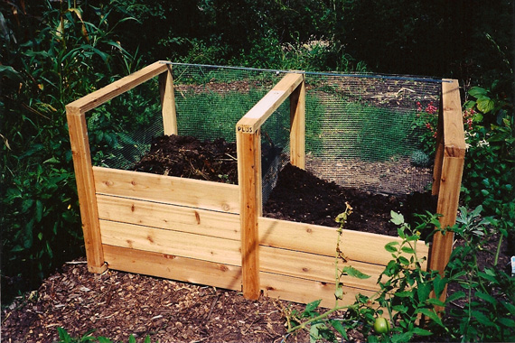 Two-bin compost bin made of cedar wood